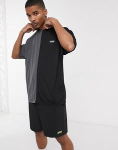 Спортивная oversized-футболка с контрастной вставкой ASOS 4505-Черный