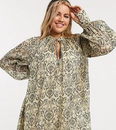 Свободное бархатное платье с завязкой Skylar Rose Plus-Мульти