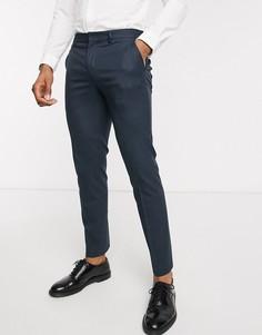 Темно-синие узкие брюки в мелкую клетку Selected Homme-Темно-синий