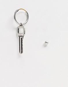 Серебристые серьги с подвесками в виде ключа ASOS DESIGN-Серебряный