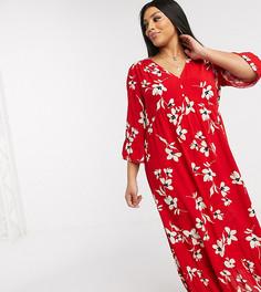 Красное платье макси с цветочным принтом New Look Curve-Красный