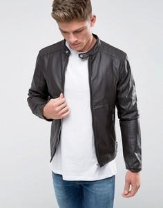 Байкерская куртка из искусственной кожи Barneys Originals-Коричневый