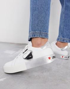 Серебристые кроссовки на платформе с логотипом Love Moschino-Серебряный