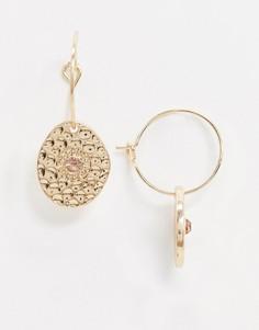 Золотистые серьги-кольца с фактурными подвесками-монетами ASOS DESIGN-Золотой