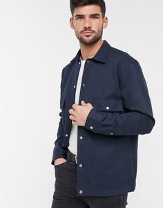 Темно-синяя строгая куртка-рубашка Selected Homme-Темно-синий