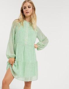 Свободное платье мятного цвета с цветочным принтом Only-Мульти