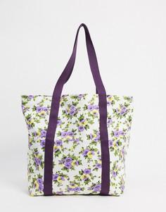 Парусиновая сумка с мелким цветочным принтом ASOS DESIGN-Мульти
