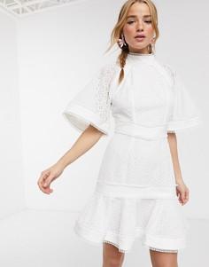 Платье мини с воротником-стойкой и вышивкой Keepsake-Белый