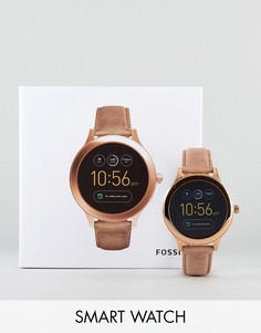 Смарт-часы с кожаным ремешком светло-коричневого цвета Fossil Q FTW6005 Venture-Рыжий