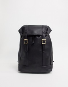 Черный рюкзак из искусственной кожи с двумя ремешками ASOS DESIGN