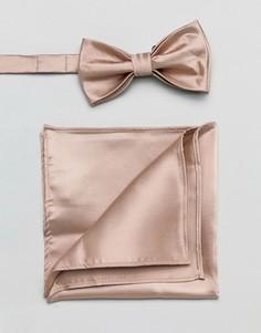 Розовый атласный галстук-бабочка и платок для пиджака Devils Advocate