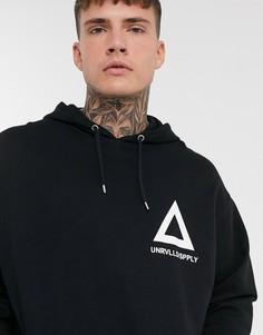 Oversized-худи черного цвета с треугольником ASOS DESIGN-Черный