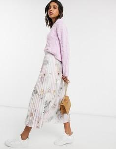 Розовая плиссированная юбка миди Ted Baker-Розовый
