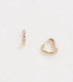 Позолоченные серьги-кольца с камнями Reclaimed vintage-Золотой