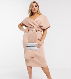Платье-футляр миди с завязкой ASOS DESIGN Curve-Бежевый