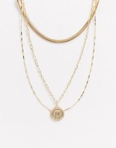 Золотистое ожерелье в несколько рядов с подвеской-монетой ASOS DESIGN-Золотой
