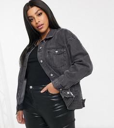 Черная джинсовая oversized-куртка со рваной отделкой Missguided Plus-Черный