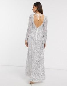 Белое свадебное платье макси с серебристыми пайетками Little Mistress-Белый