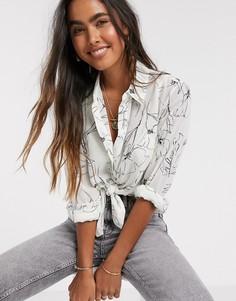 Монохромная шифоновая рубашка с цветочным принтом Y.A.S-Мульти