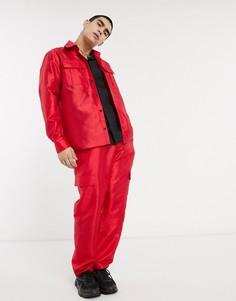 Красная рубашка в стиле милитари с длинными рукавами Milk It-Красный