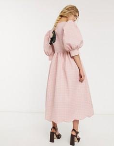 Фактурное платье миди с запахом и пышными рукавами DREAM Sister Jane-Розовый