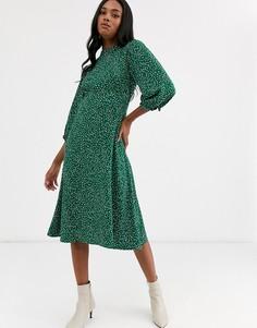 Зеленое платье миди с высоким воротом в белый горошек Y.A.S-Мульти