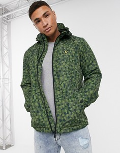 Куртка на молнии с капюшоном и геометрическим принтом Lyle & Scott-Зеленый