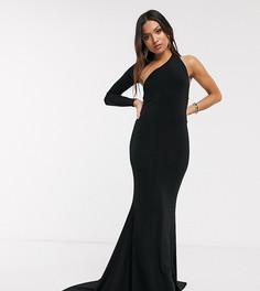 Платье макси на одно плечо с годе Club L Petite-Черный