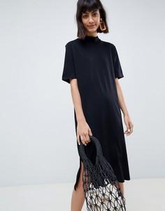 Черное платье миди с высоким воротником Selected Femme-Черный