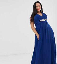 Декорированное шифоновое платье макси с V-образным вырезом City Goddess Plus-Синий