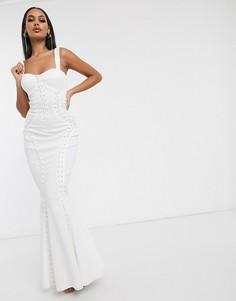 Премиум-платье макси со шнуровкой ASOS DESIGN-Белый
