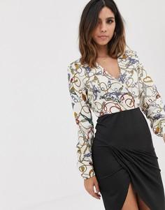 Платье с запахом и принтом цепочек AX Paris-Мульти