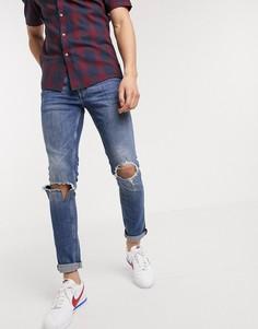 Синие джинсы скинни из органического хлопка Topman-Синий