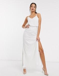 Белое свадебное платье макси с декоративной отделкой Little Mistress-Белый