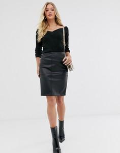 Черная юбка из искусственной кожи Vila-Черный