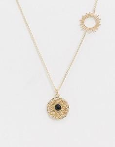 Золотистое ожерелье с подвесками в виде глаза и солнца ASOS DESIGN-Золотой