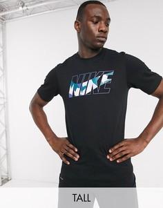 Черная футболка с камуфляжным принтом Nike Training Tall-Черный