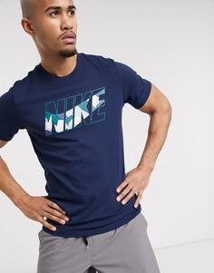 Темно-синяя футболка с камуфляжным принтом Nike Training-Темно-синий