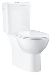 Унитаз напольный безободковый GROHE Bau Ceramic со смывным бачком и сиденьем с микролифтом (выпуск в пол), альпин-белый (39346000)