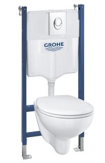 Готовый набор для туалета GROHE Bau Ceramic: инсталляция GROHE Solido 5 в 1, подвесной унитаз Bau Ceramic, сиденье с микролифтом, панель смыва Start + шумоизоляция (39419000)