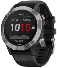 Спортивные часы Garmin fenix 6 Silver w/Black BandGPS WatchWW (010-02158-00)