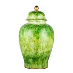 Ваза фарфоровая с крышкой Glasar зеленая с золотистой окантовкой 33х33х60см ГЛАСАР