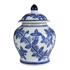 Ваза Glasar фарфоровая с крышкой в классическом китайском стиле 10x10x14см ГЛАСАР
