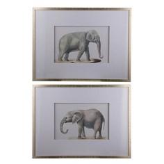 Панно Glasar с изображением слонов, набор 2пр. 60x3x80см ГЛАСАР