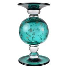 Подсвечник Glasar стеклянный зеленоватого цвета 14х14х24см ГЛАСАР