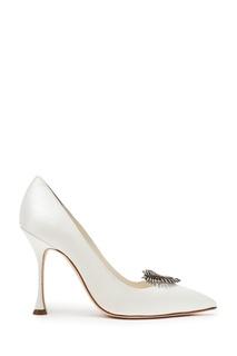 Белые атласные туфли с декором Lifia 105 Manolo Blahnik