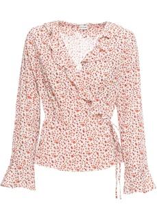 Блузки с длинным рукавом Блузка с запахом-обманкой в цветочек Bonprix
