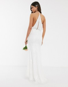 Платье макси цвета слоновой кости с пайетками и бахромой Jarlo Вridal-Кремовый