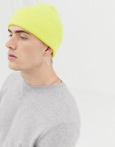 Желтая вязаная шапка-бини Weekday Hero-Желтый