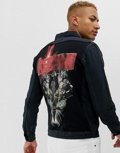 Джинсовая куртка с принтом на спине Religion - Fanatic-Серый